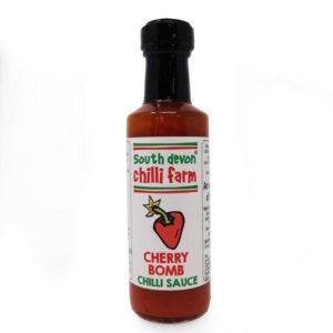 south devon cherry bomb chilli sauce in a bottle