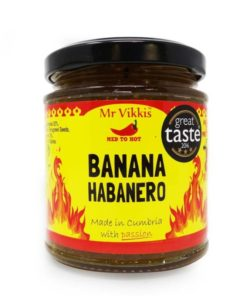 mr vikkis hot banana habanero chilli chutney in a jar