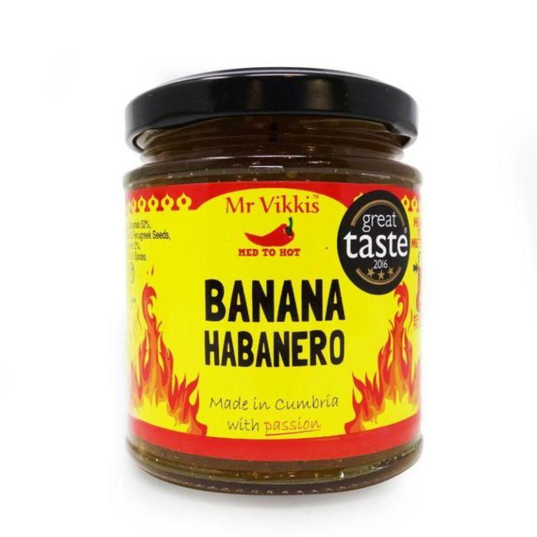 mr vikkis hot banana habanero chilli chutney in a jar