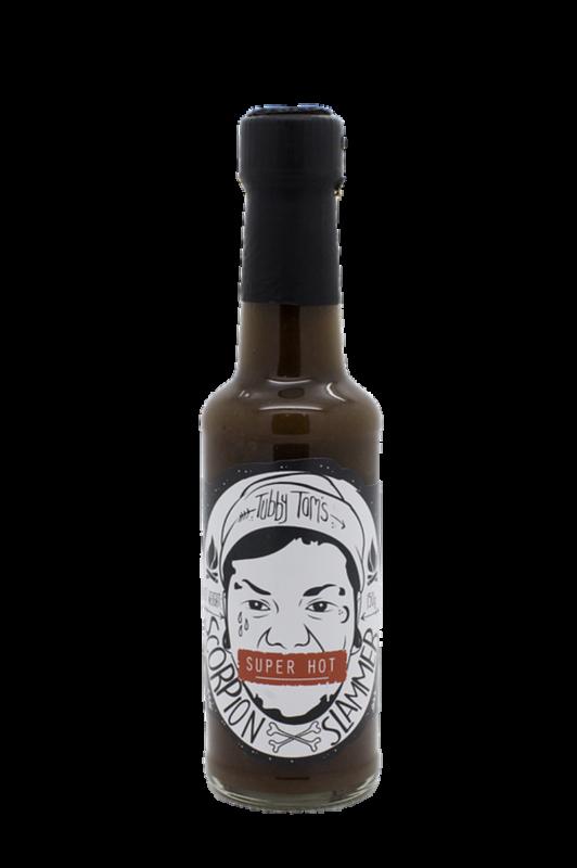 tubby toms scorpion slammer hot sauce in a bottle