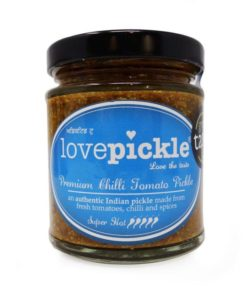 lovepickle super hot chilli tomato pickle in a jar