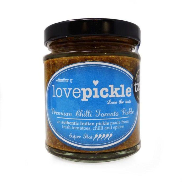 lovepickle super hot chilli tomato pickle in a jar