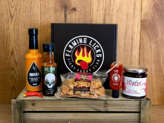 flaming licks hot sauce box home