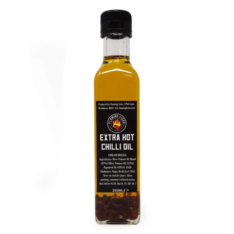 flaming licks extra hot chilli oil in a bottle