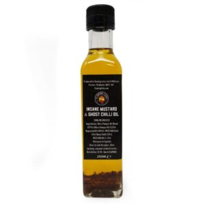 flaming licks insane mustard & ghost chilli oil in a bottle