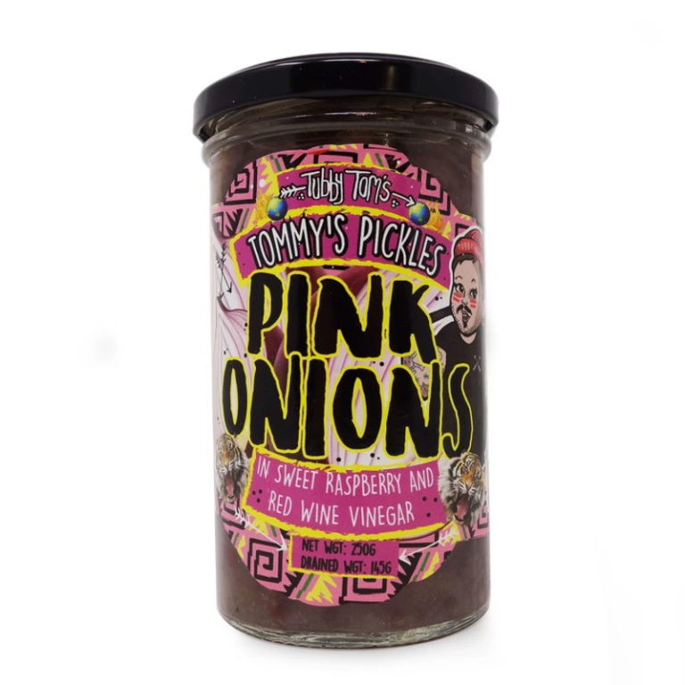 tubby toms pink pickled onions in a jar