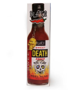 blair's sweet death hot sauce with mango in a bottle