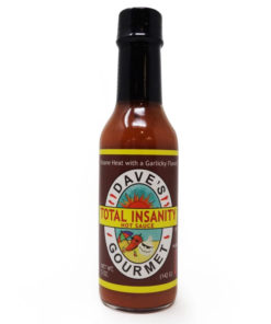 dave's gourmet total insanity hot chilli sauce in a bottle
