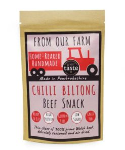 from our farm chilli biltong meat snack in a pouch
