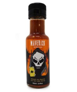 grim reaper maverick hot chilli sauce in a bottle