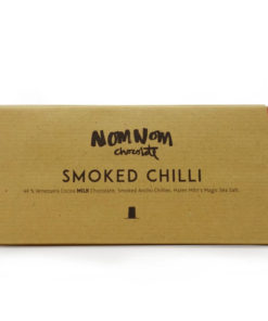 nom nom milk choc venezuelan smoked chilli chocolate in a bar