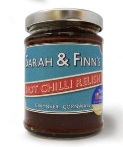 sarah finn extra hot chilli relish in a jar