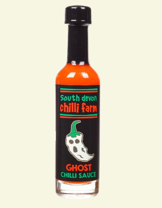 Download South Devon Ghost Chilli Sauce 50ml Flaming Licks PSD Mockup Templates